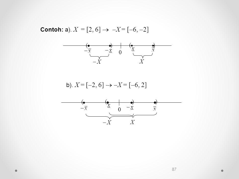 Contoh: a). X = [2, 6]  X = [6, 2]